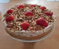 Krümelkuchen mit Erdbeer-Rhabarber-Quark