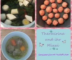 Gemüsesuppe / Suppenbrühe mit Hackbällchen by Thermirina