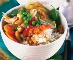 Chinesische Gemüse-Reis-Garnelenpfanne, ruck zuck