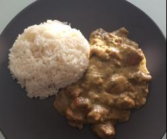 Variation Championgeschnetzeltes mit Reis in Weißwein-Rahmsoße