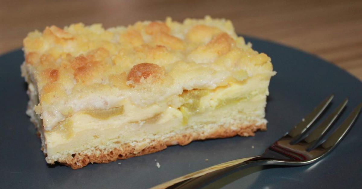 Rhabarberkuchen mit Quark und Streusel von ...