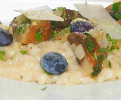 Champignon-Risotto mit Heidelbeeren