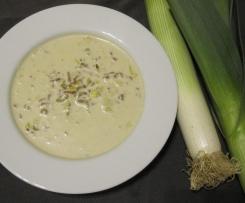 Schnelle Käse-Lauch-Suppe mit Hack wie angebraten