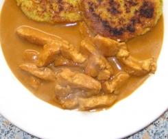 Curryrahmsoße (mit Putengeschnetzeltem)