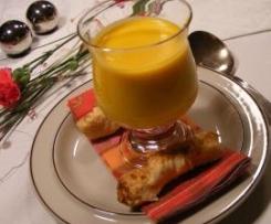 Möhren-Ingwer-Creme mit Blätterteig-Zimt-Gebäck
