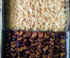 Zwetschgenkuchen und Apfelkuchen auf einem Blech