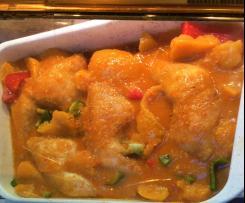 Hähnchenschenkel süß-sauer mit fruchtigem Gemüse
