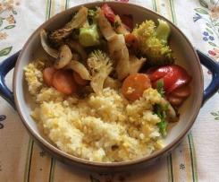Mediterranes Zitronengemüse mit Linsenreis vegetarisch/vegan