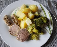 Schweinefilet mit Pfeffer-Senf Kruste & Schnittlauch-Soße mit Kartoffeln und Brokkoli, ALL IN ONE