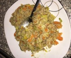 Porree-Gemüse Pfanne mit Hack und Reis super einfach, schnell und lecker