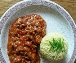 Gemüse-Hackfleisch mit Currreis a la Maibrit