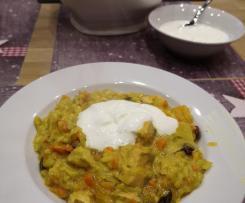 Curry-Risotto mit Lachs und Mandarinen