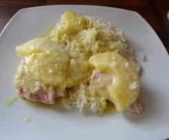 Hawaii Schnitzel mit Risotto