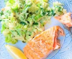 Leichter Kartoffel-Porree-Stampf mit Lachs