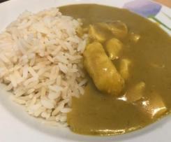 Variation Curry Hähnchen mit Reis - fettarm  & WW geeignet