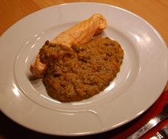 Lebkuchengewürz-Linsen-Gemüse mit Lachs