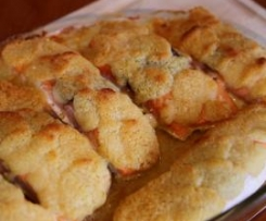 Lachs mit Meerrettichkruste, gebackenen Tomaten und Reis