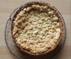 Variation von Apfelkuchen mit Pudding und Streusel