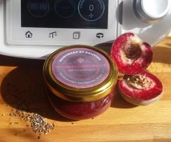 Weinbergspfirsich-Konfitüre 3:1 mit Chiasamen und Vanilleextrakt