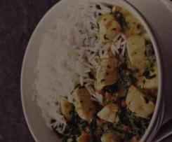 Hähnchencurry mit Spinat