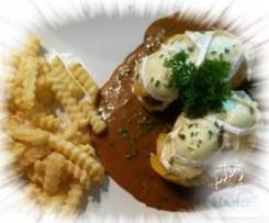 überbackene Medaillons mit Pfirsich und Camembert im Varoma