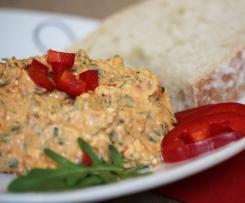 Paprika-Rucola-Brotaufstrich, Dip, leicht & figurfreundlich, Low Carb, fettreduziert