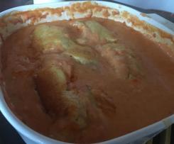 Variation Überbackener Maultaschen-Auflauf mit Tomaten