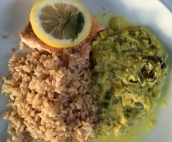 Lachs mit Curry-Lauch-Gemüse