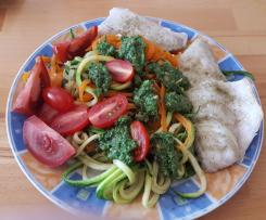 Zander, Gemüsenudeln und Pesto