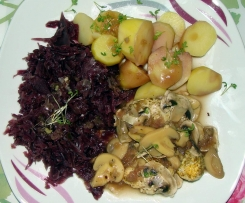 Huhn in Marsalasauce mit Kartoffeln und Rotkohl (weight watcher, all in one)