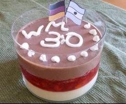 Weltmeister WM, Europameister EM Dessert - Vanillepudding, frische Erdbeeren und Mousse au Chocolat