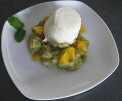 Joghurtcreme mit Rhabarber-Orangen-Kompott