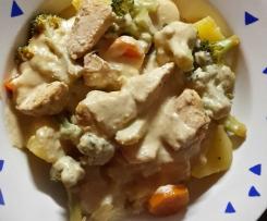 Hähnchenfleisch mit Erdnusssauce zu Kartoffeln und Broccoli-Möhren-Gemüse