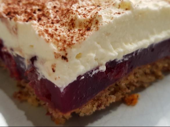 Gewitterkuchen Vom Blech Nuss Kirsch Kuchen Mit Sahnehaube Von