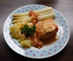 Variation von Gratinierter Lachs mit Kartoffeln und Spargel