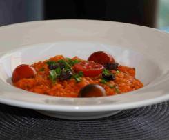 Mediterranes Risotto mit feinem Paprikapüree (vergan)