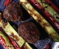 gedünstetes Balsamico Gemüse mit Chili Boulette  - HCG Diätphase