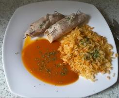 Minutensteaks Röllchen mit Reis
