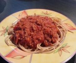 Variation von Spaghetti Bolognese