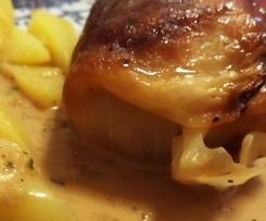 Kohlrouladen mit Kartoffeln und Cidre-Sauce