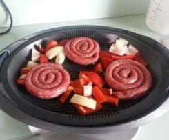 Bratwurstschnecken mit Gemüse