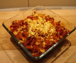 Käse-Polenta mit Gemüse überbacken