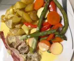 Schweinefilet mit Frühkartoffeln, Gemüse und Sauce Hollandaise