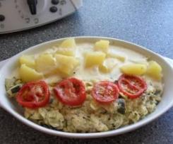 Pangasius mit Zucchini-Tomaten-Käse-Haube