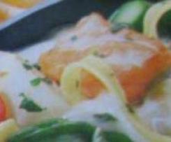 Variation von Spargel-Lachs-Pasta