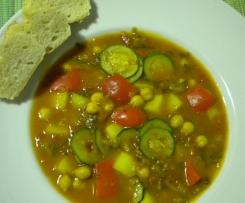 Gemüsesuppe mit Kichererbsen