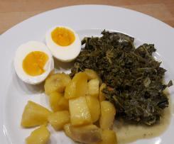 Grünkohl vegetarisch mit Kartoffeln und Ei