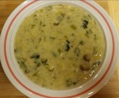 Käse-Lauch-Suppe mit Champignons und Grünkern