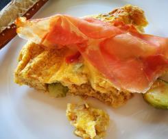 Rosenkohl-Frittata mit Rohschinken und Mozzarella - Eierspeise, Omelett