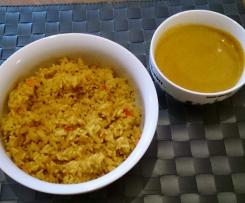 Möhren-Paprika-Reis mit Gemüsesauce